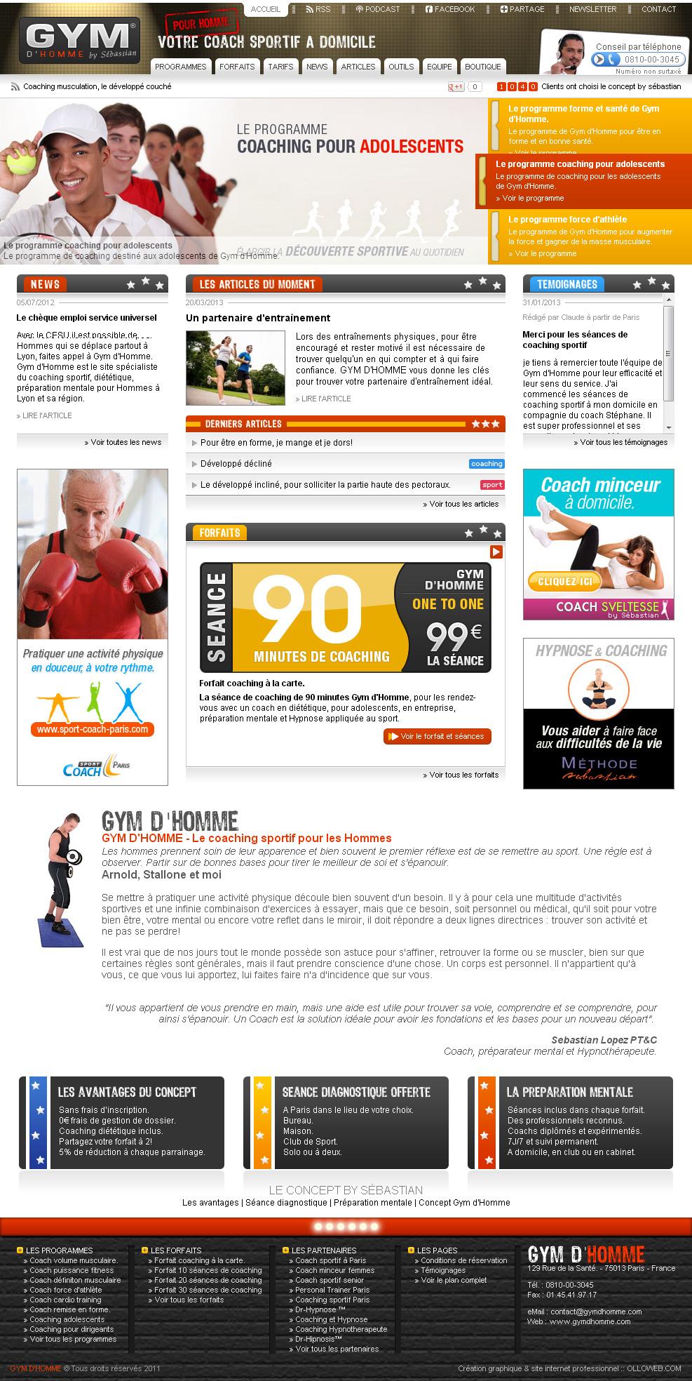 Page d'accueil du site de Gym d'Homme