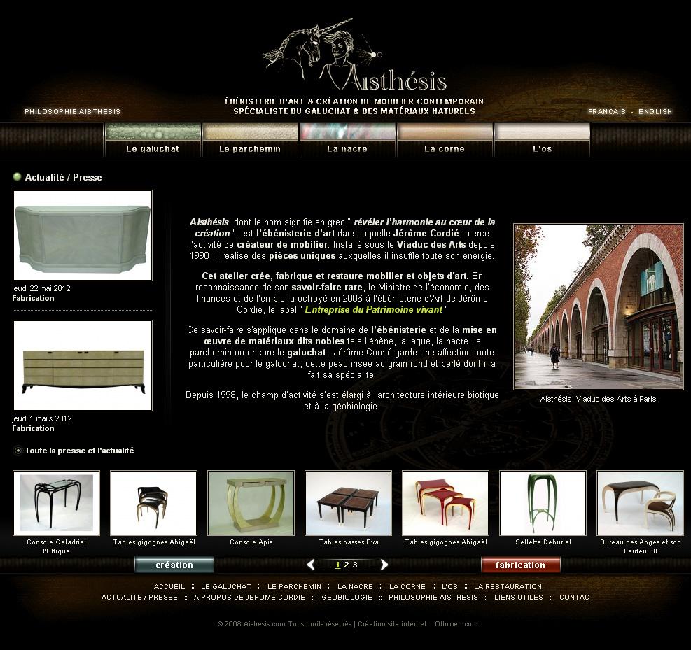 Page d'accueil du site Aisthésis