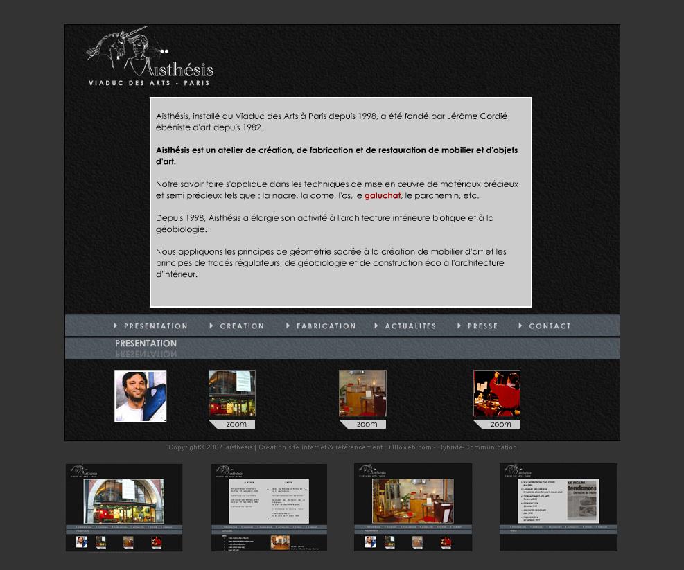 Première version du site Aisthésis