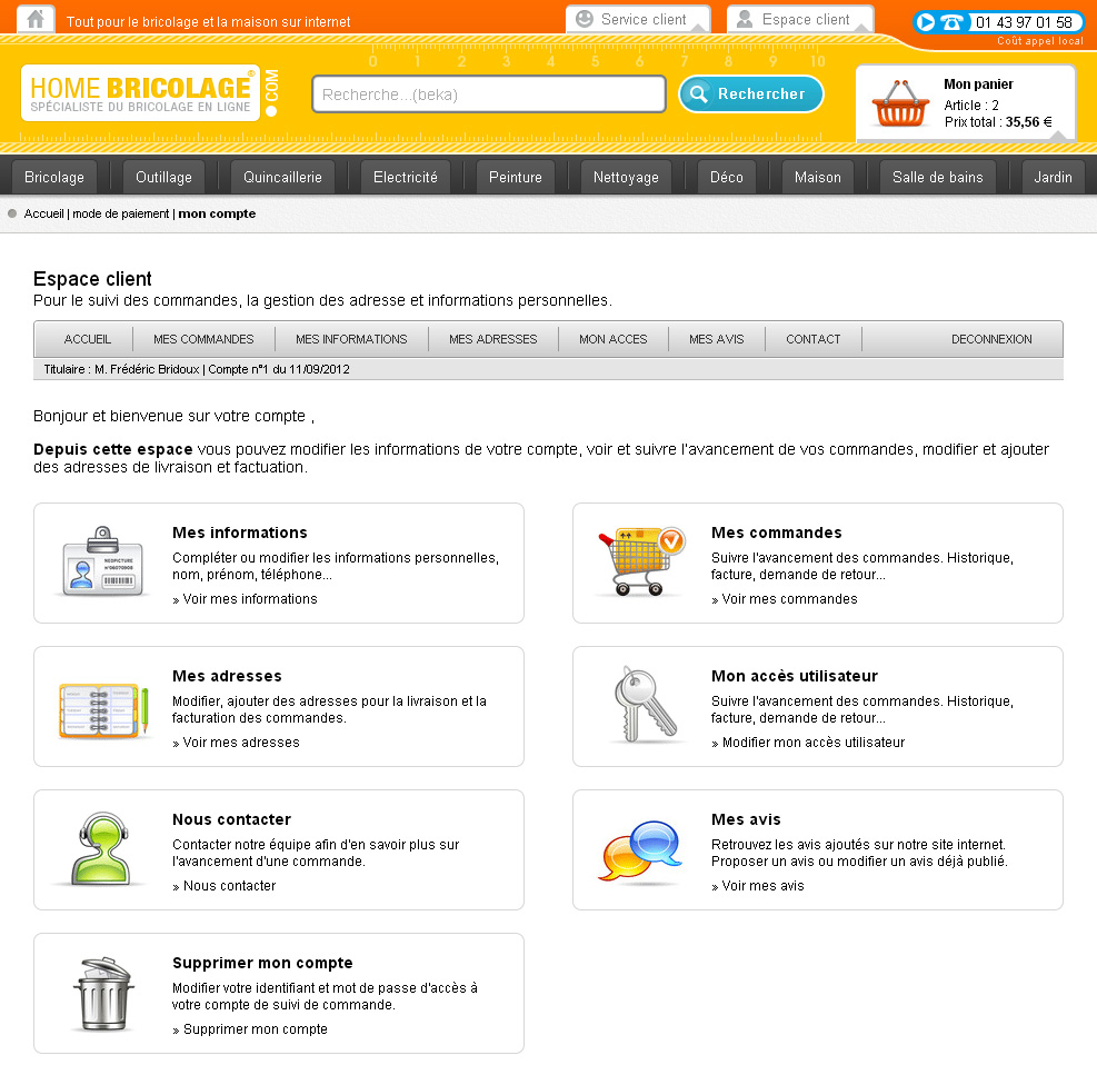 Page d'accueil de compte client