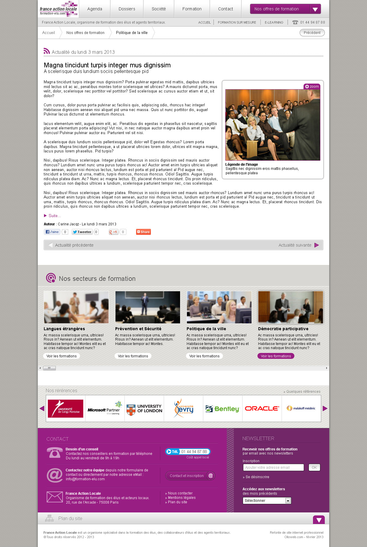 Conception graphique des pages d'actualités des formations.