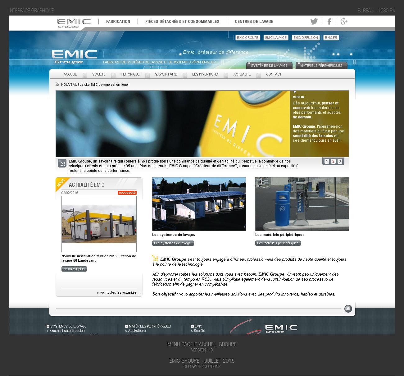 Conception graphique du menu pour l'harmonisation du site Emic.fr
