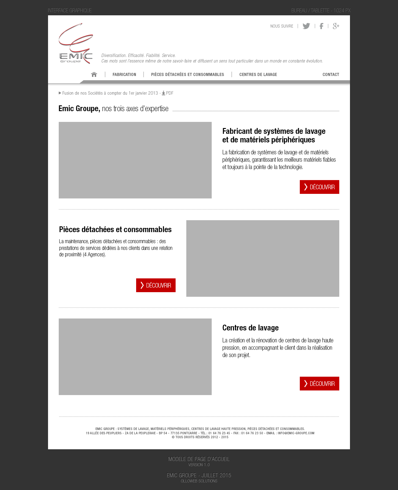 Conception de la version pour bureau et tablette (responsive)
