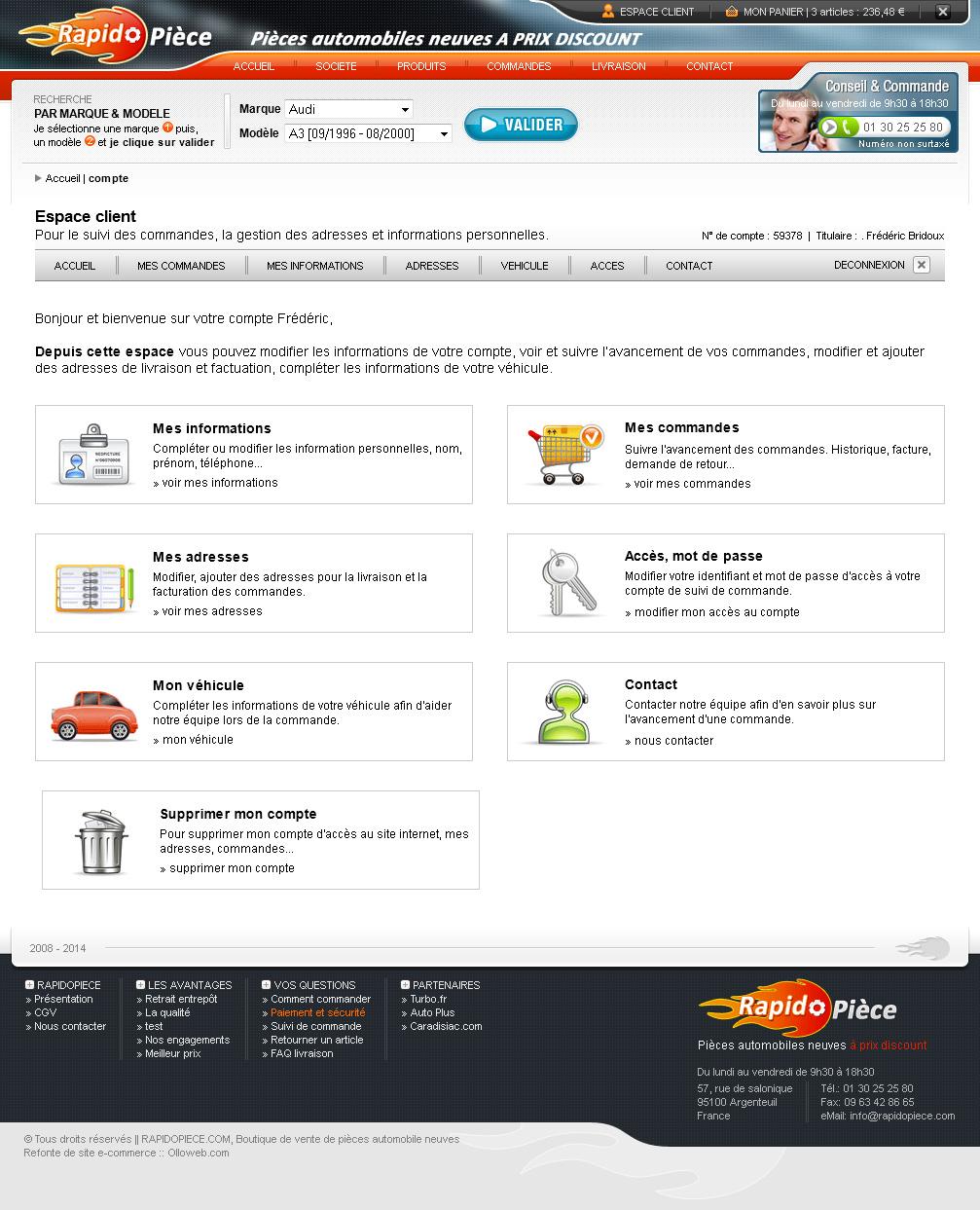 Conception de l'espace client du site e-commerce