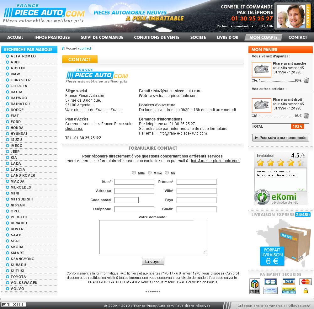 Création graphique de la page formulaire du site automobile