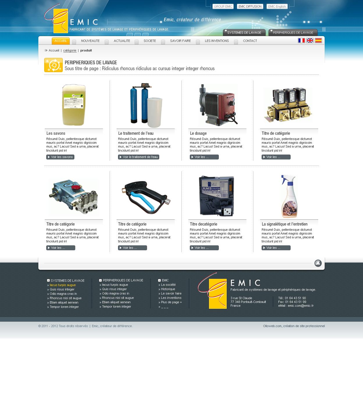 Conception graphique de la page de catégorie du site de catalogue