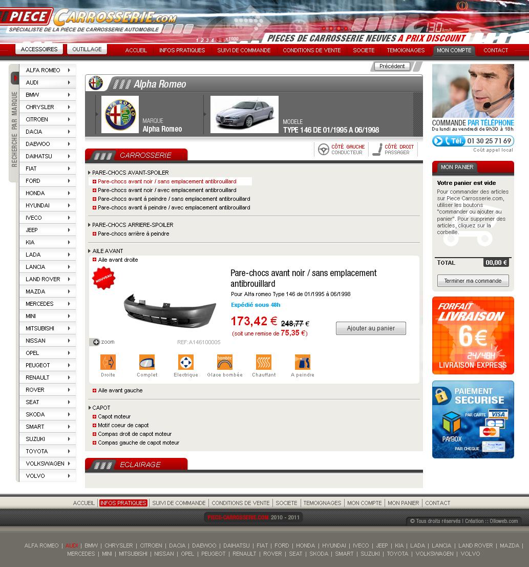 cr ation de site internet de vente de pi ce de carrosserie automobile cr ation de site internet. Black Bedroom Furniture Sets. Home Design Ideas