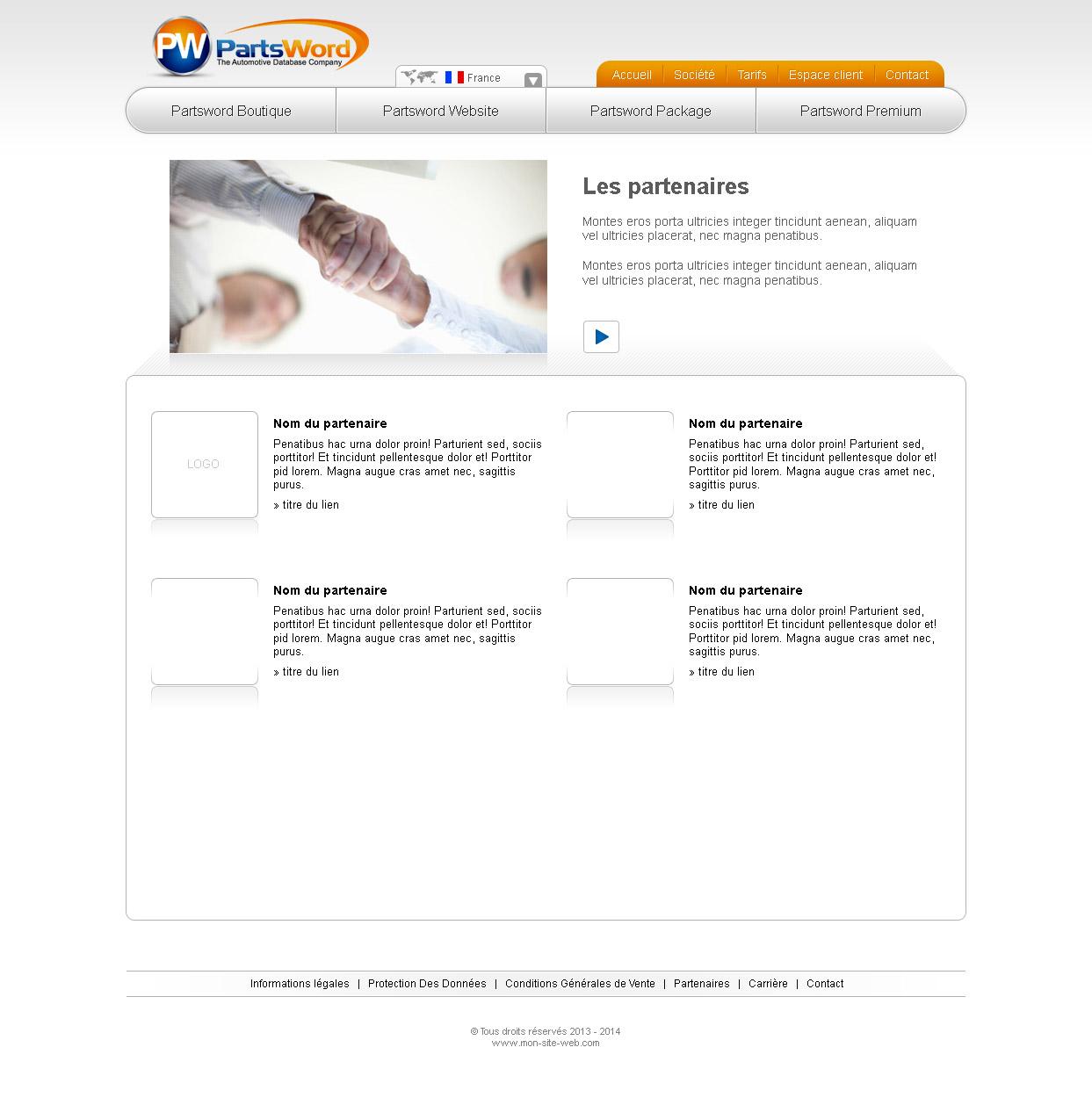 Graphisme site internet page partenaire