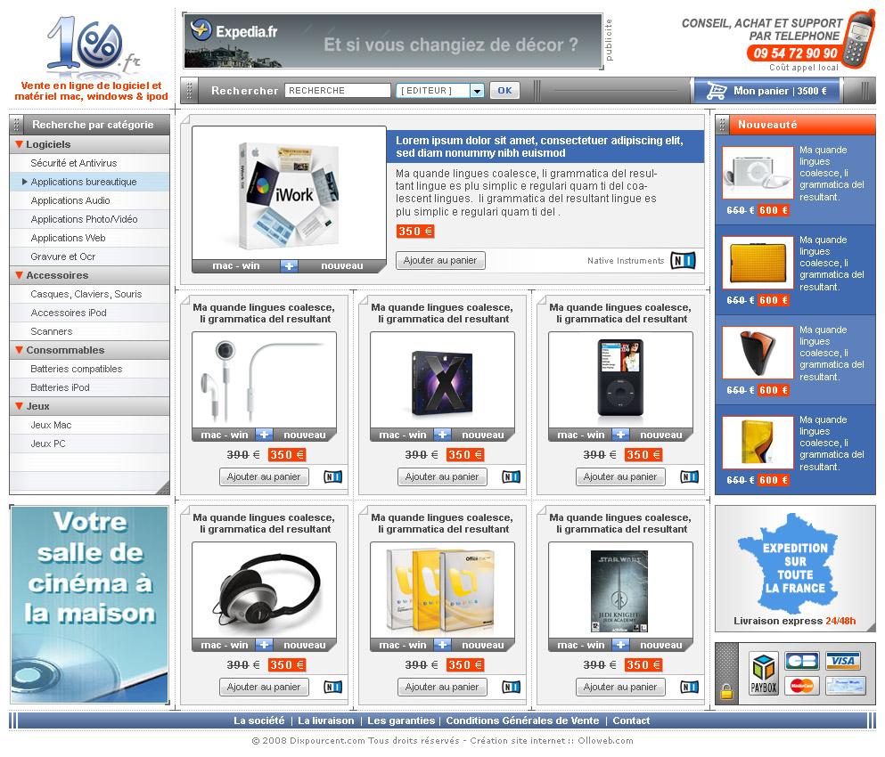 Graphisme de la page d'accueil du site e-commerce