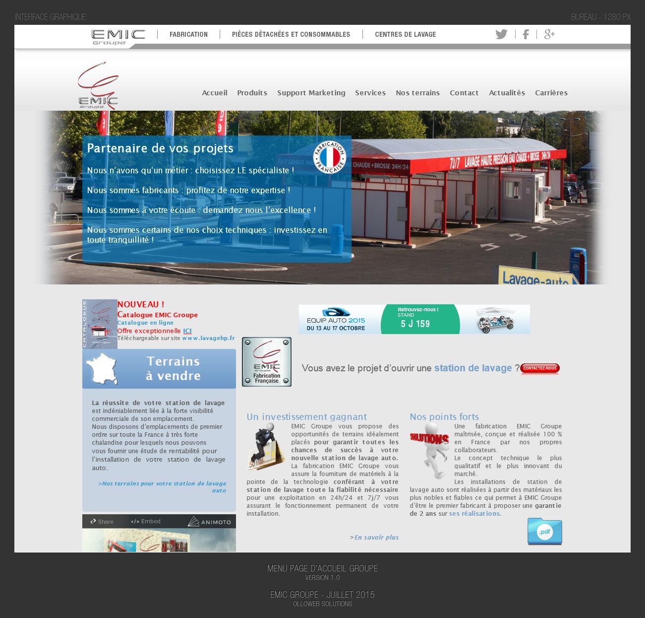 Conception graphique du menu pour l'harmonisation du site Emic Lavage.fr