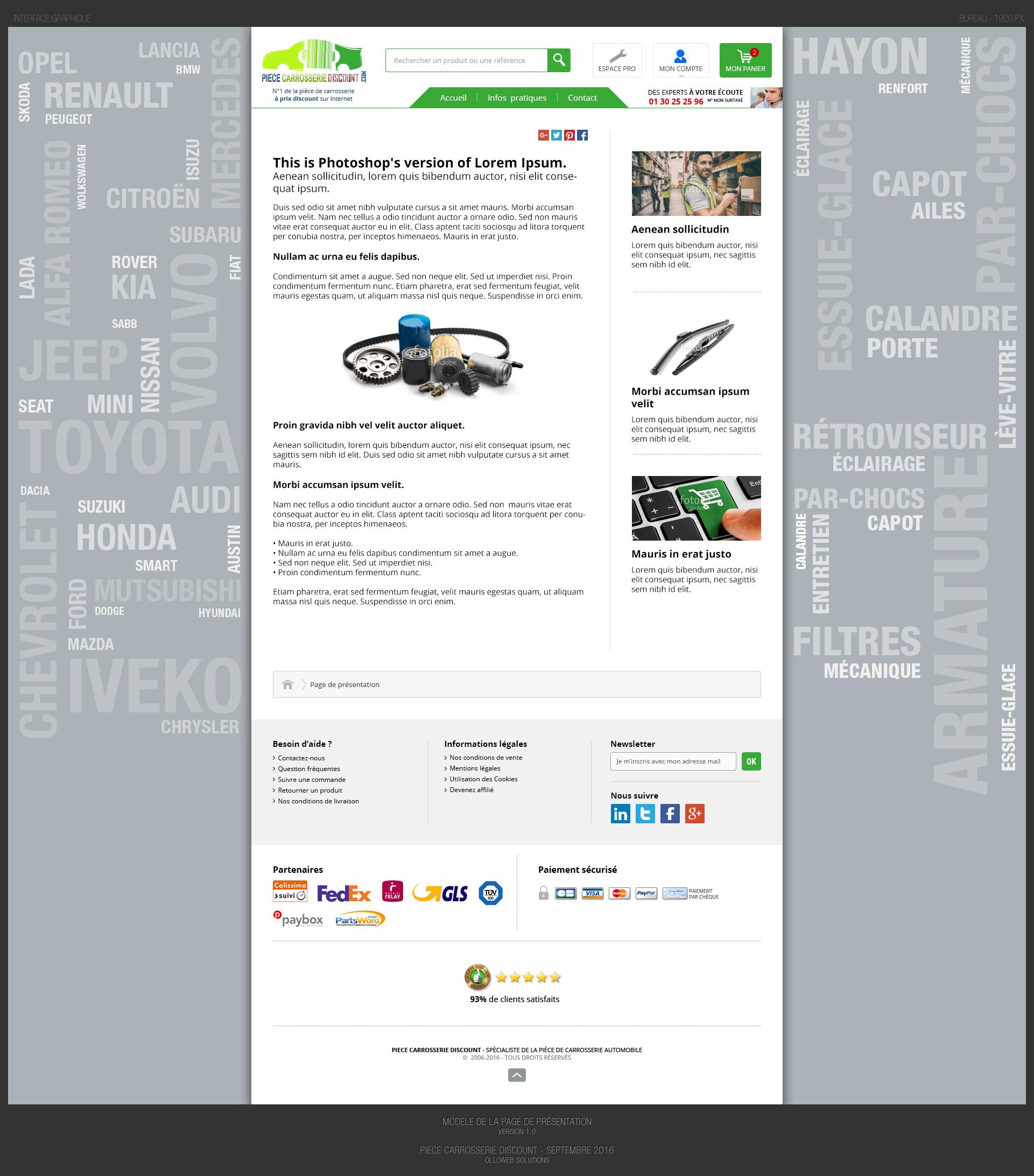 Création des pages de présentation du site e-commerce