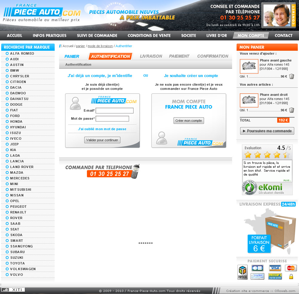 Création graphique de la page identité du site automobile