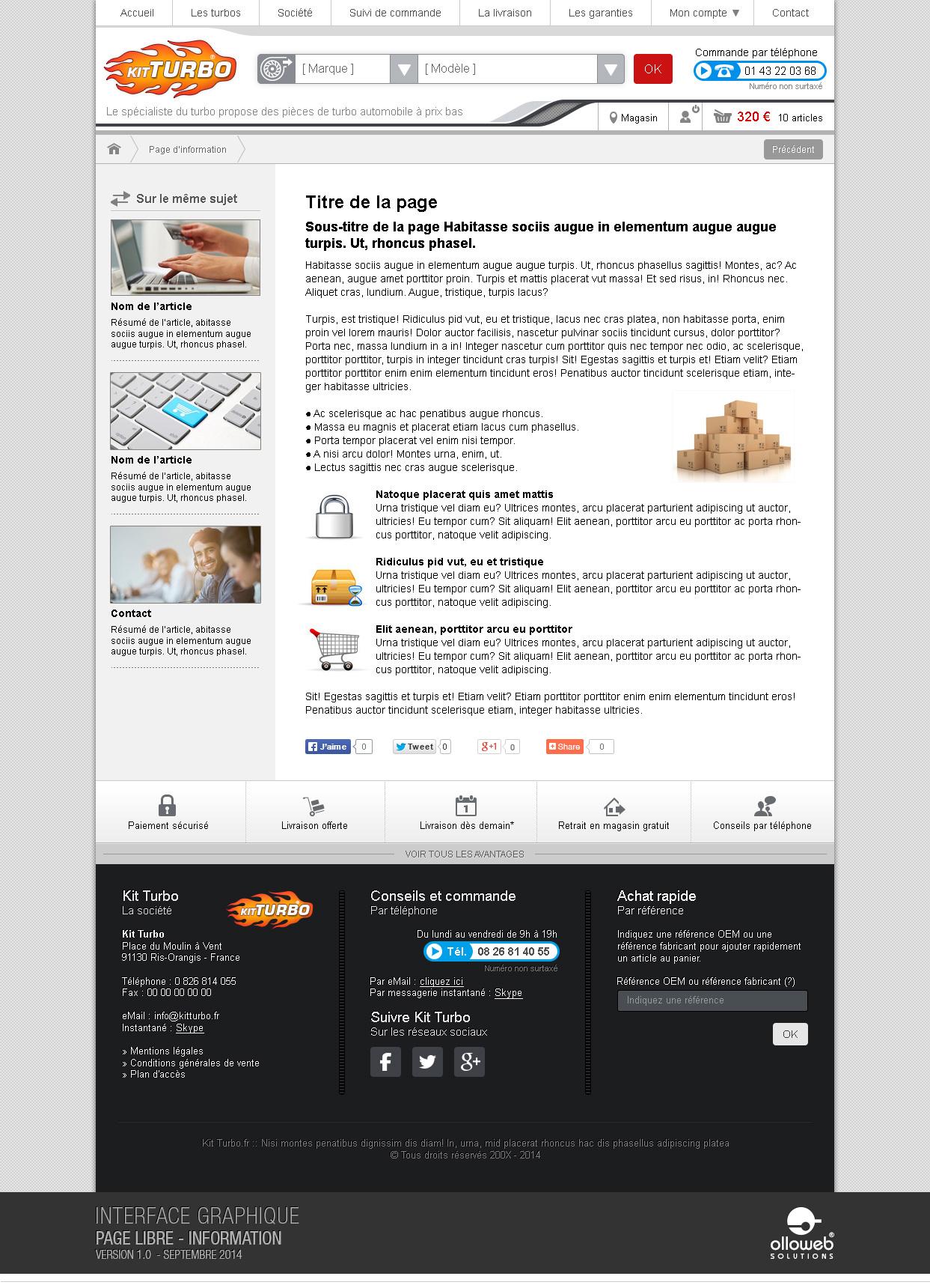 Graphisme du modèle des pages d'informations
