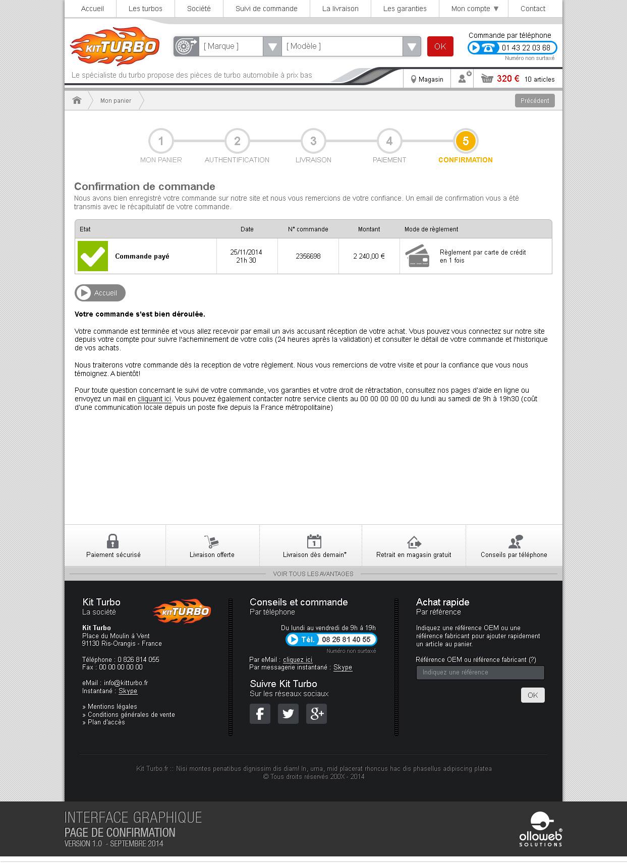 Graphisme du modèle de la page confirmation