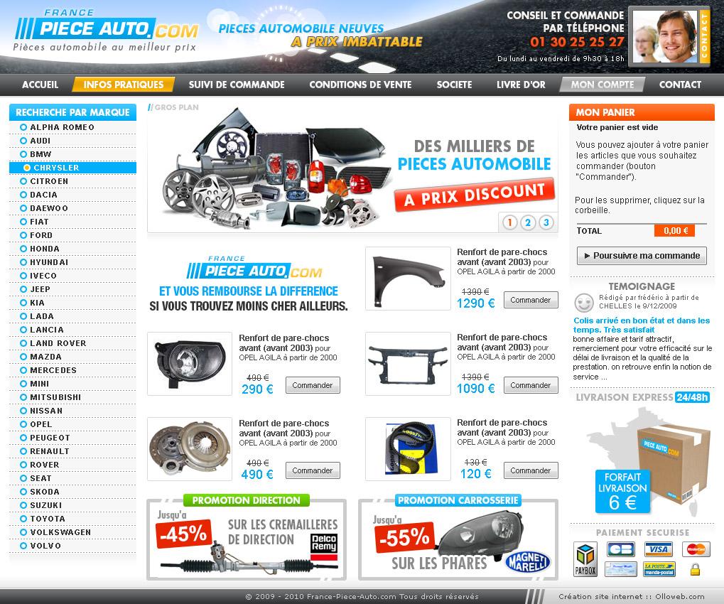 Création graphique de la page d'accueil du site auto
