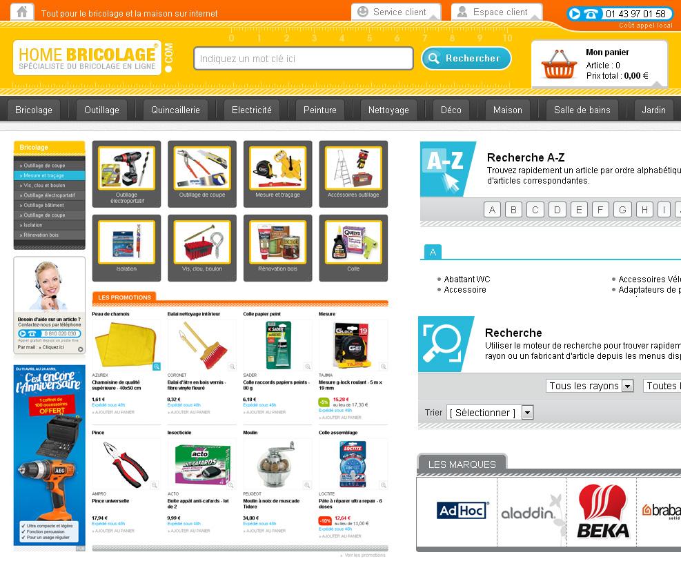 Création de siite e-commerce de bricolage