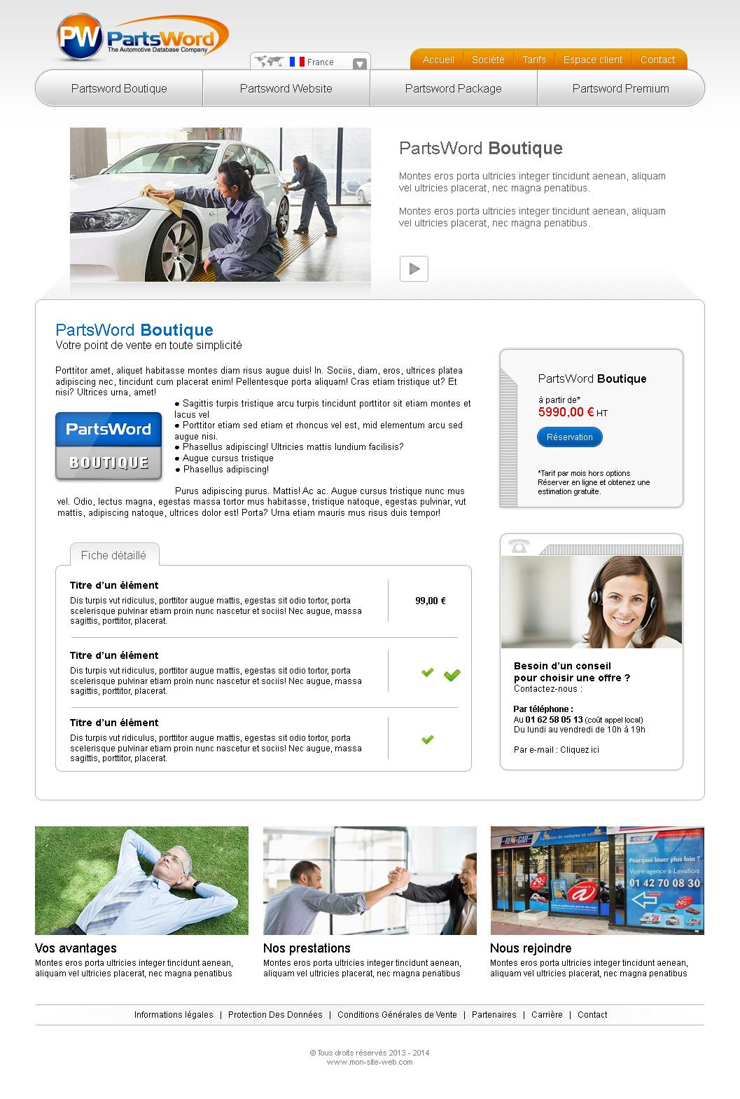 Graphisme site internet automobile
