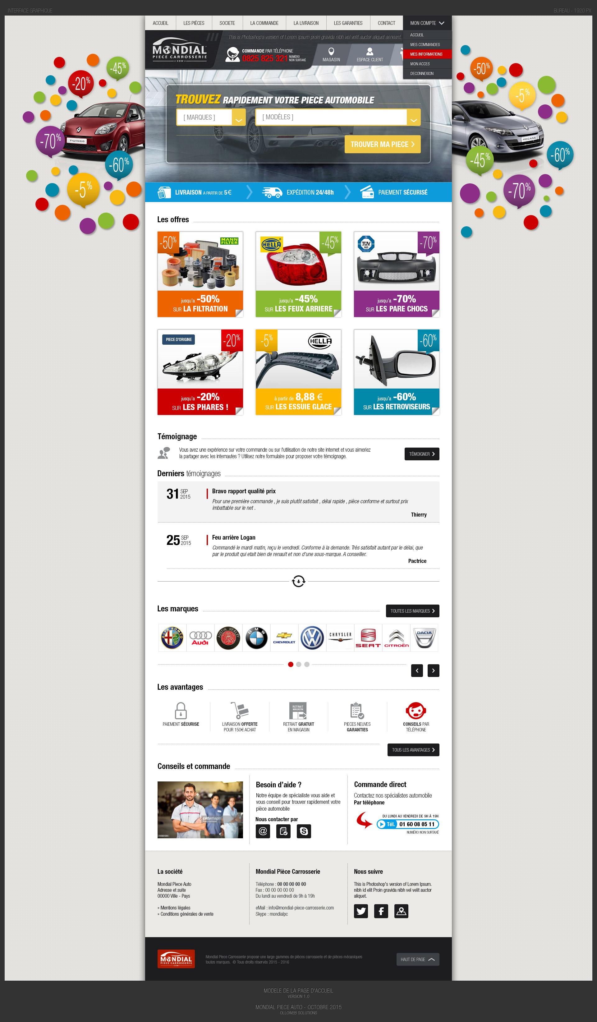 Page d'accueil du site Mondia Piece Carrosserie