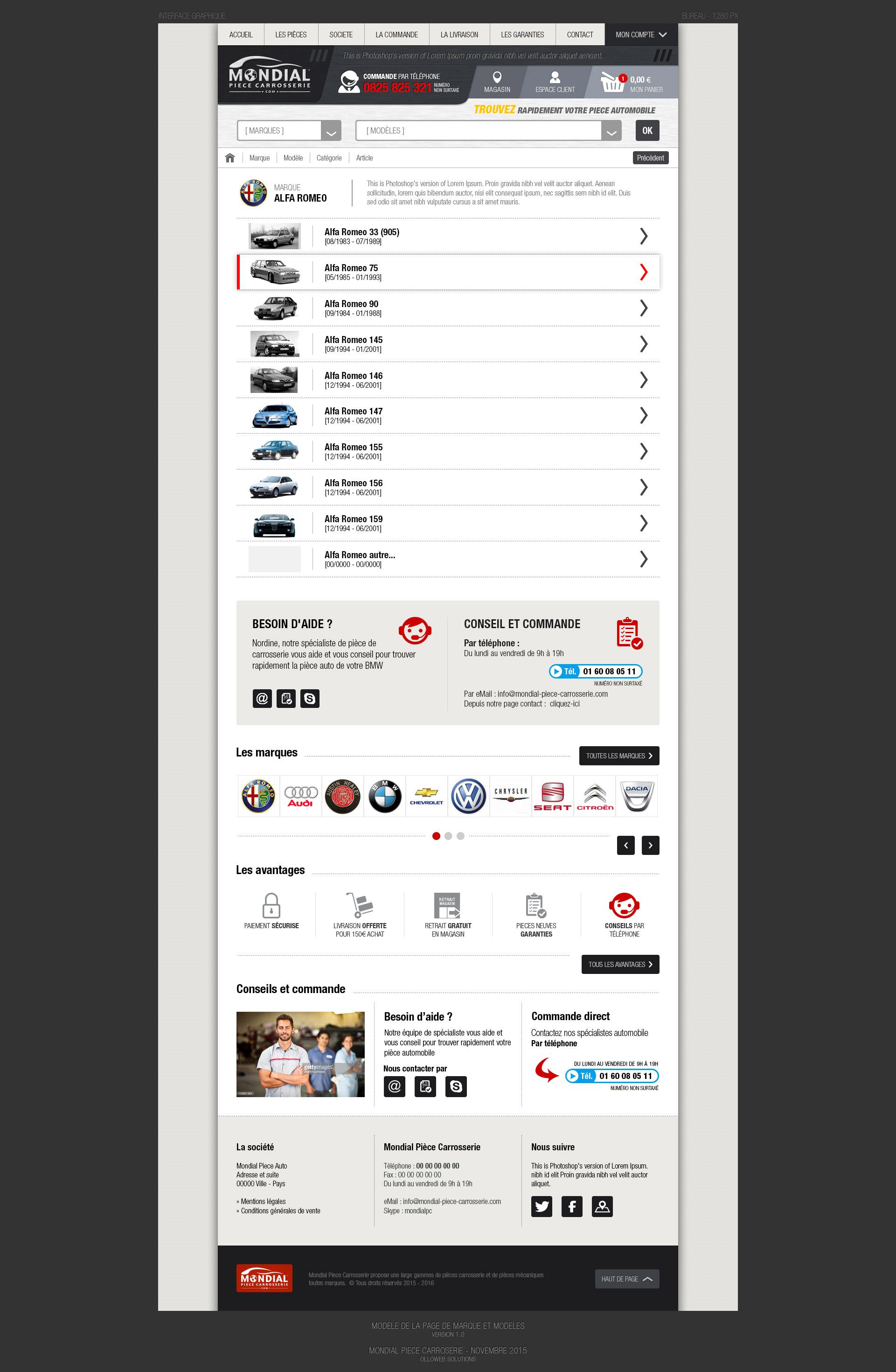 Création de la page marque et modèles
