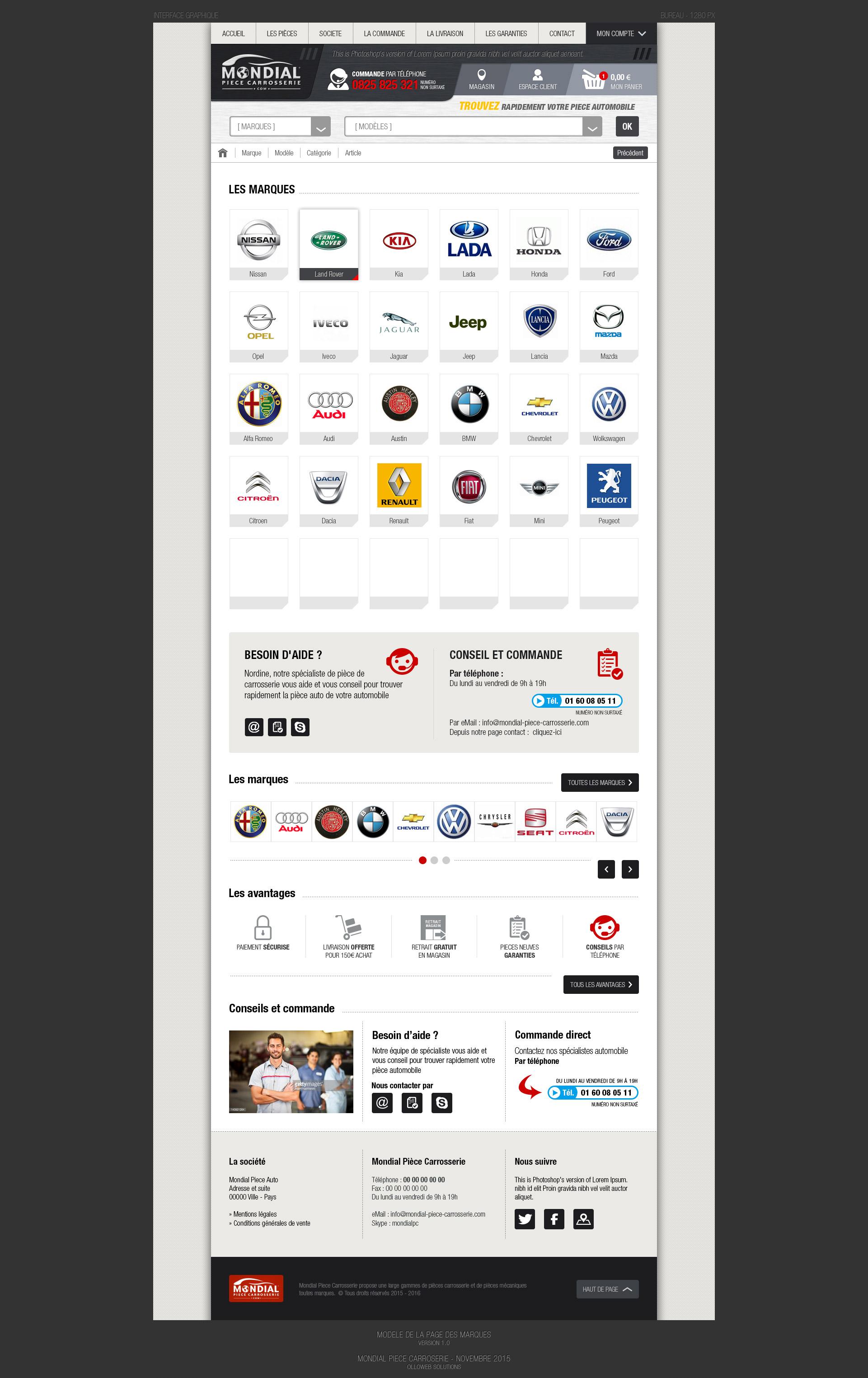 Conception graphique de la page des marques