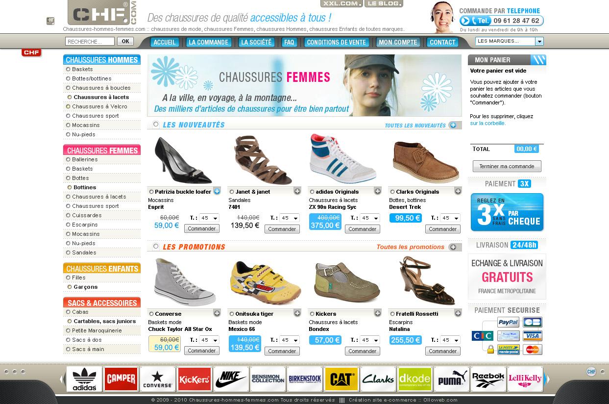 cration de site e commerce de chaussure cration de site internet. Black Bedroom Furniture Sets. Home Design Ideas