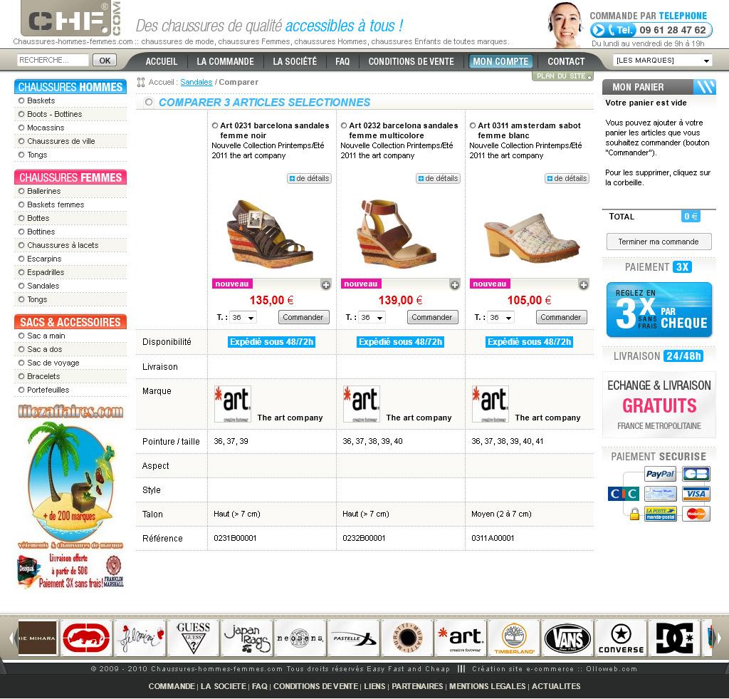 Page de comparateur de chaussures.