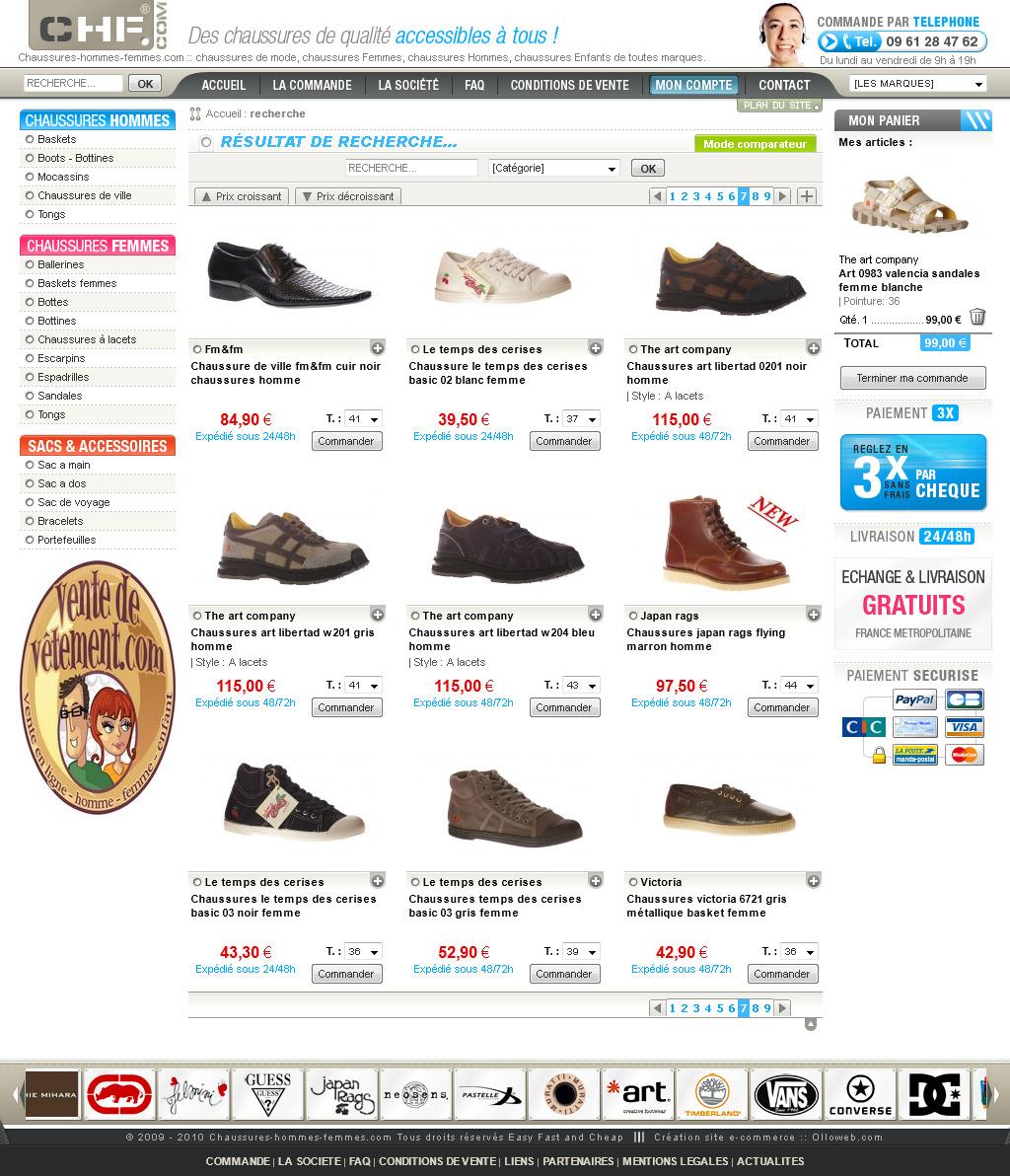 cr ation de site e commerce de chaussure cr ation de site internet. Black Bedroom Furniture Sets. Home Design Ideas