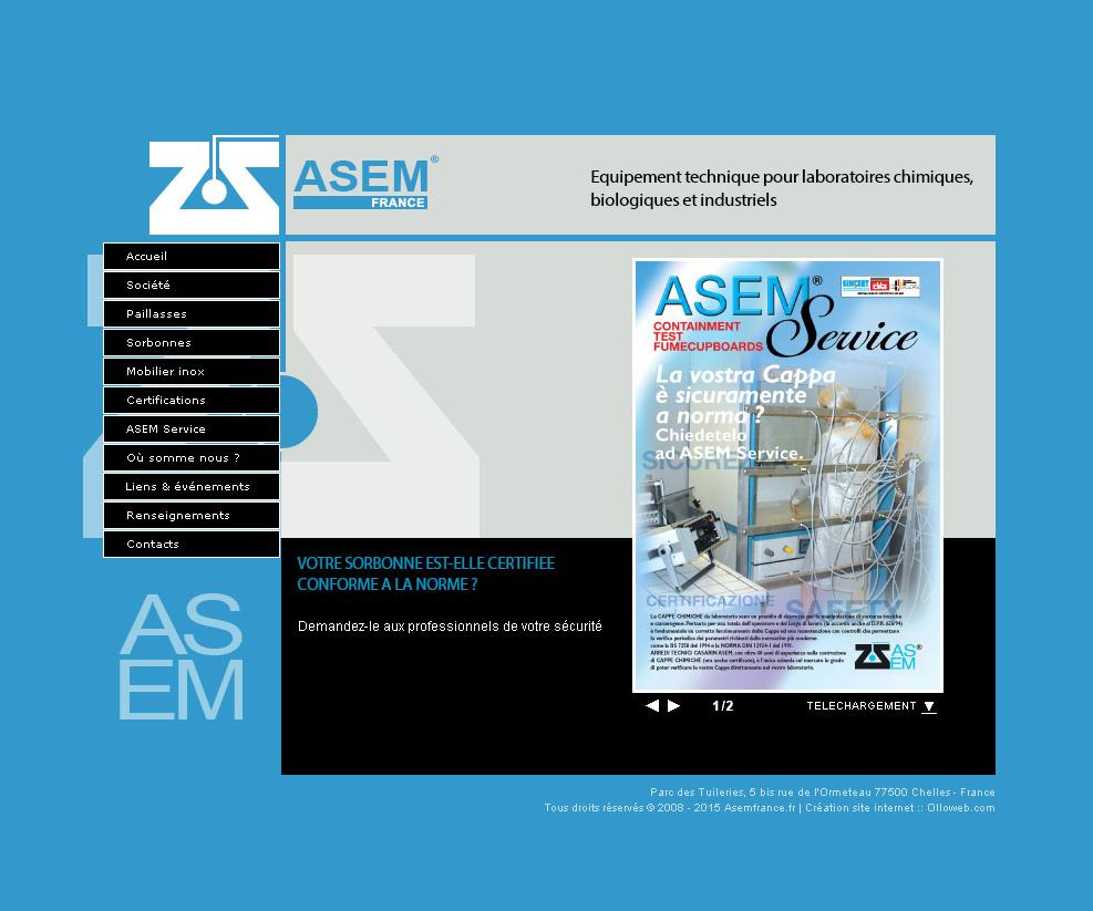 Page sur les produits de l'entreprise Asem