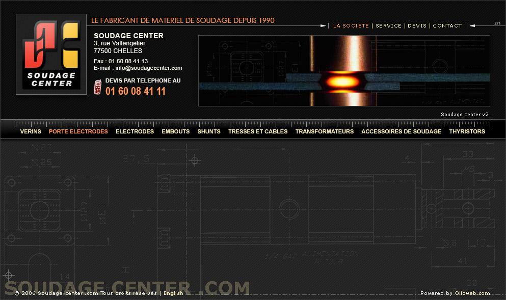 Création graphique des pages du site de soudage.