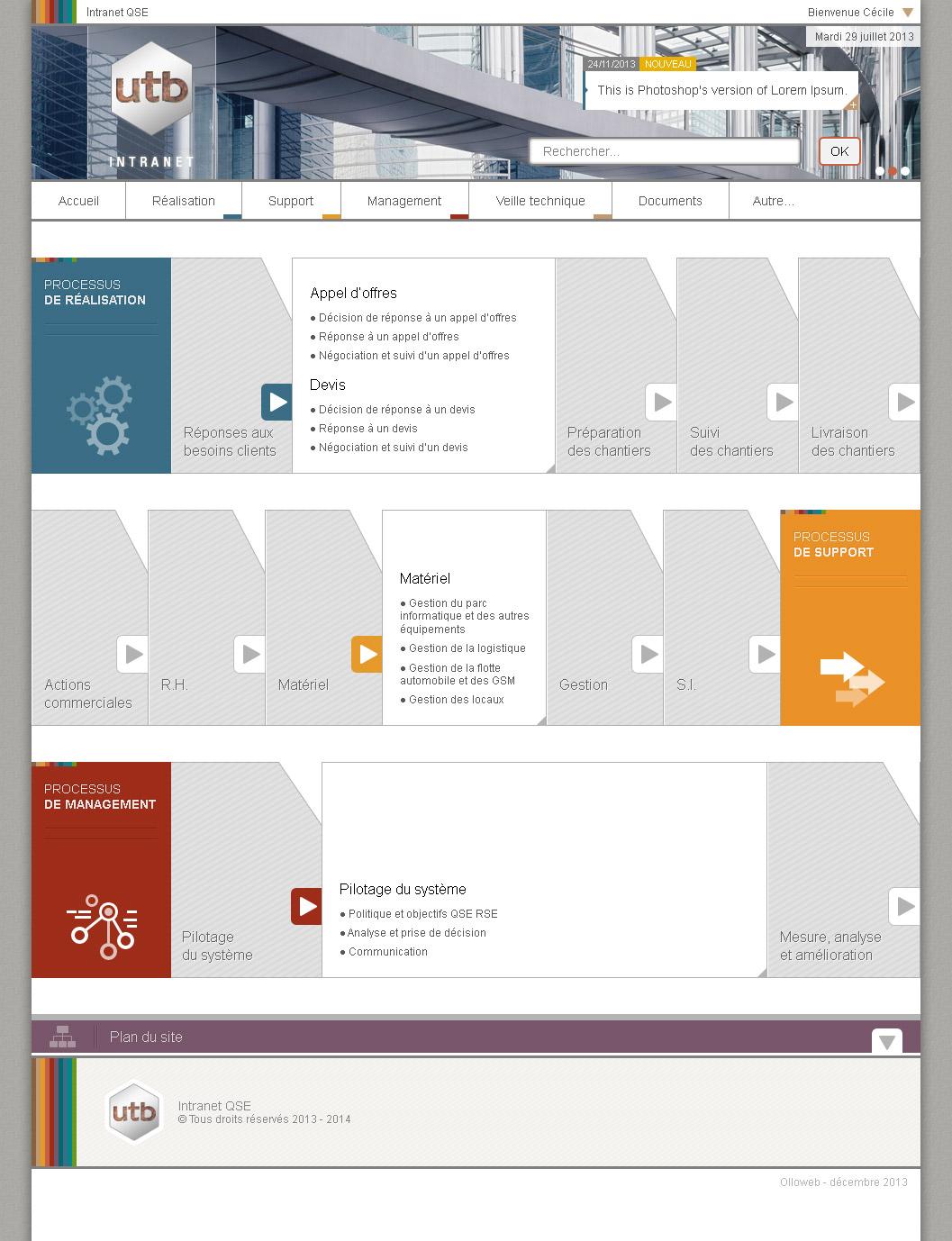 Graphisme de la page d'accueil du site d'entreprise