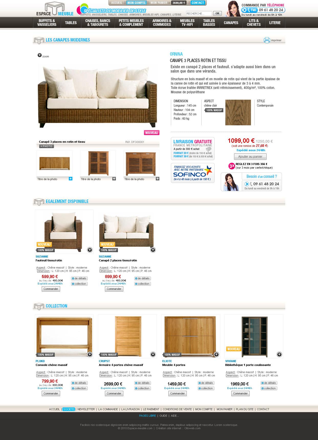 Détail de la page produit de mobilier