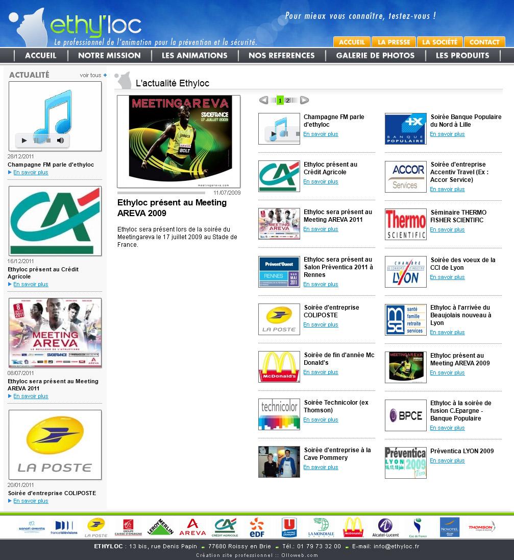 Création de la page des actualités du site de prévention