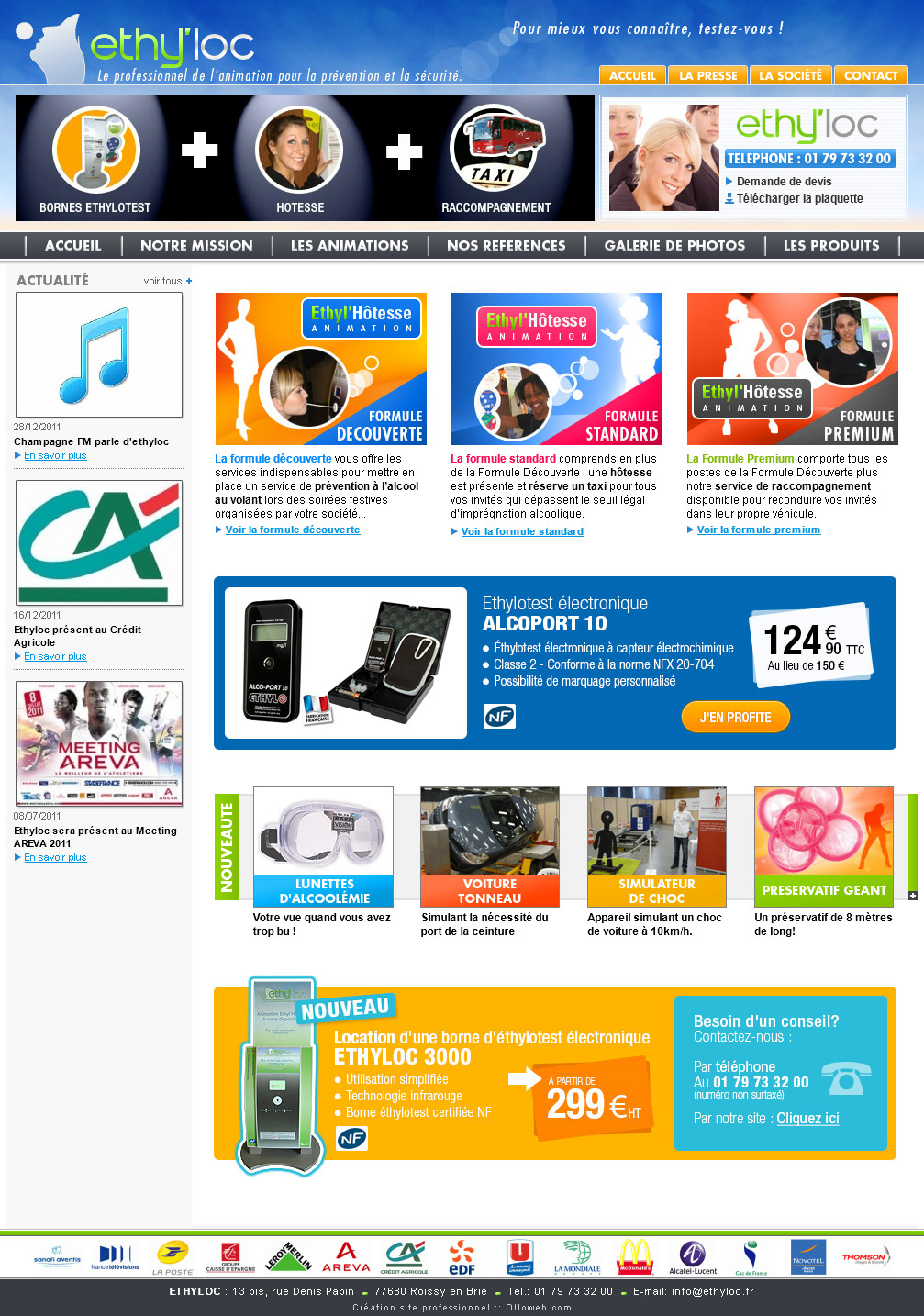Page d'accueil du site de prévention