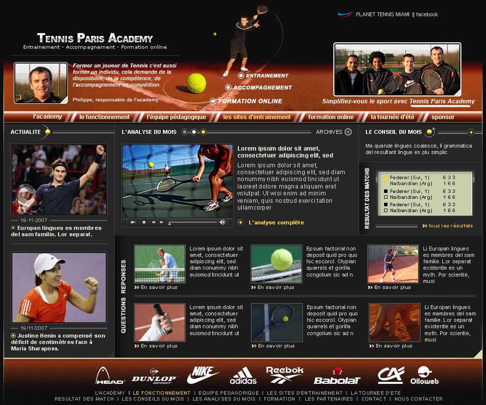 Création d'un site internet de tennis