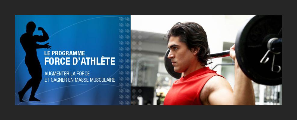 Création graphique et montage photo de programme force d'athlète.