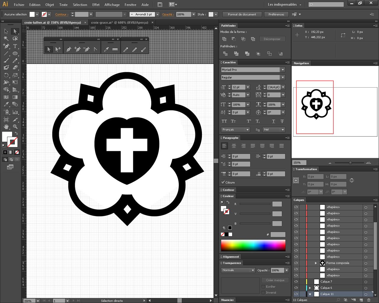 Reprise de la croix de rose de Luther depuis Adobe Illustrator