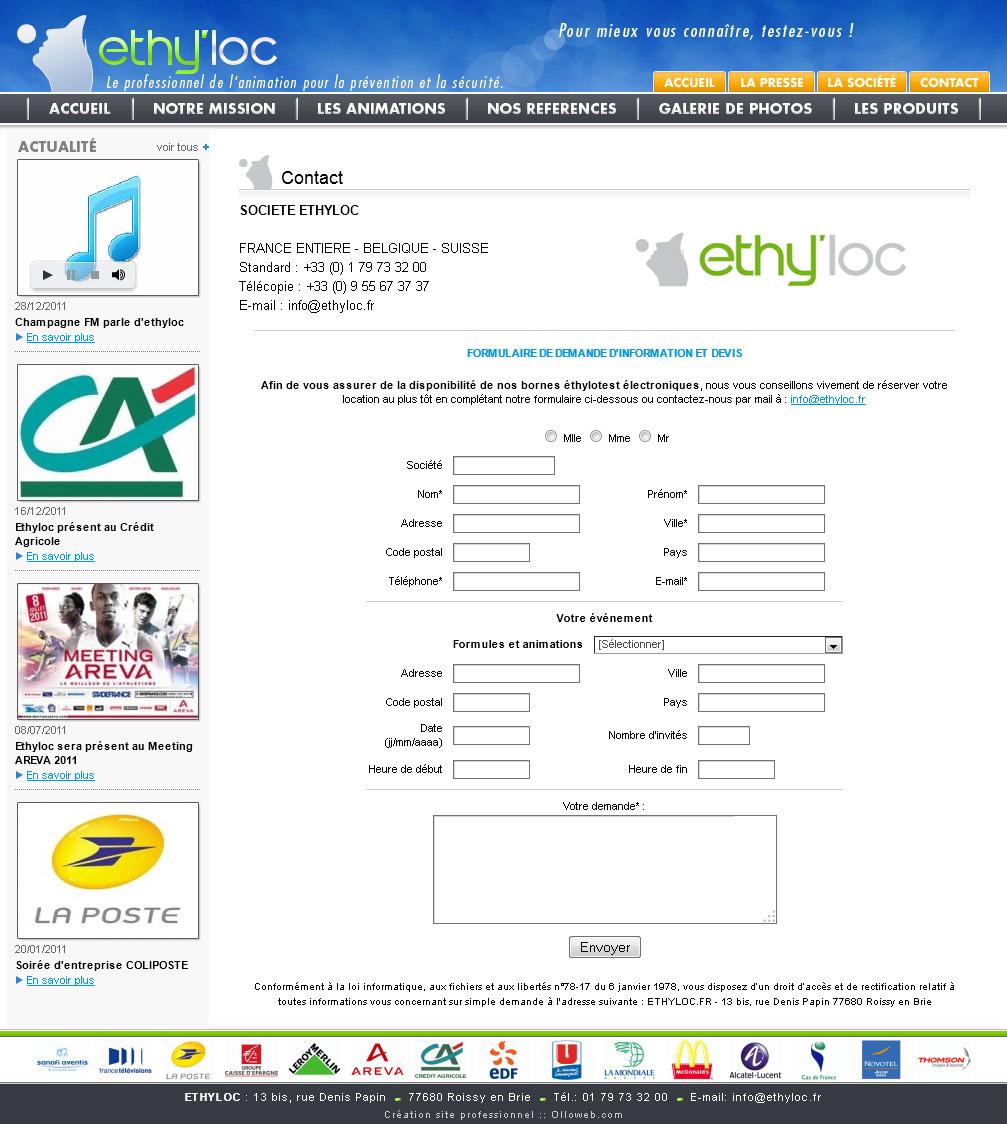 Page de formulaire du site de prévention.