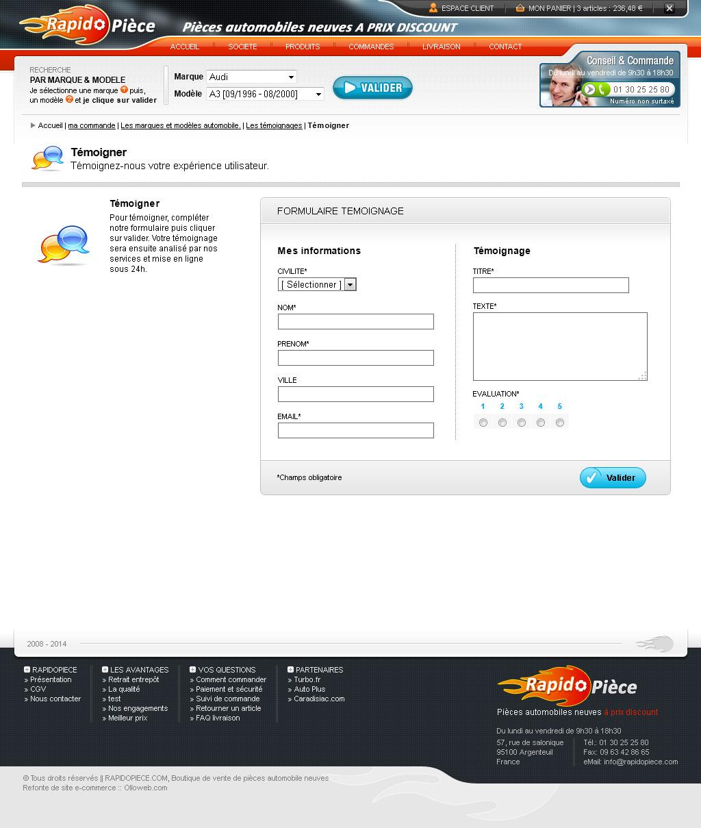 Détail du formulaire de témoignage du site e-commerce