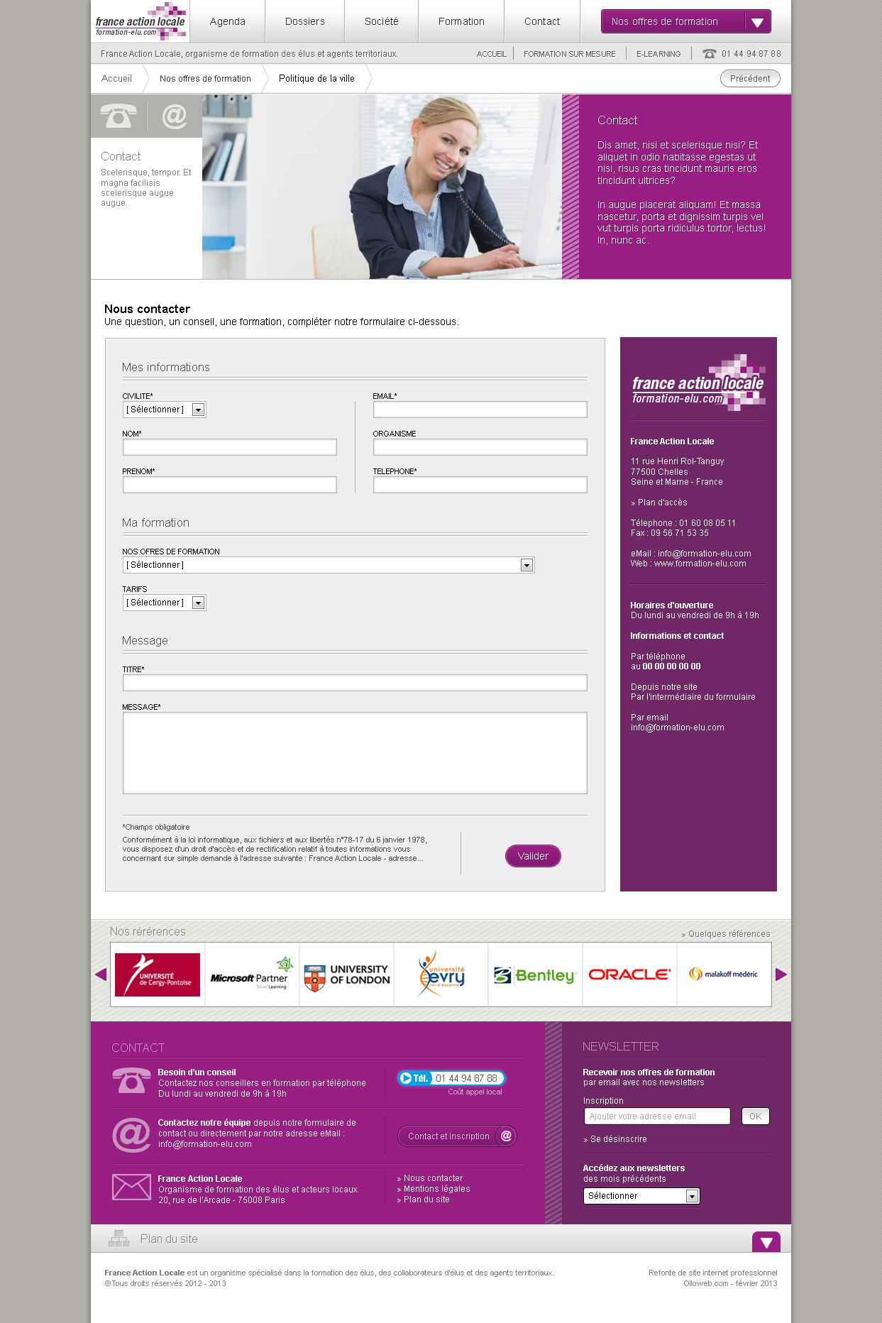 Création graphique de la page de contact et formulaire.