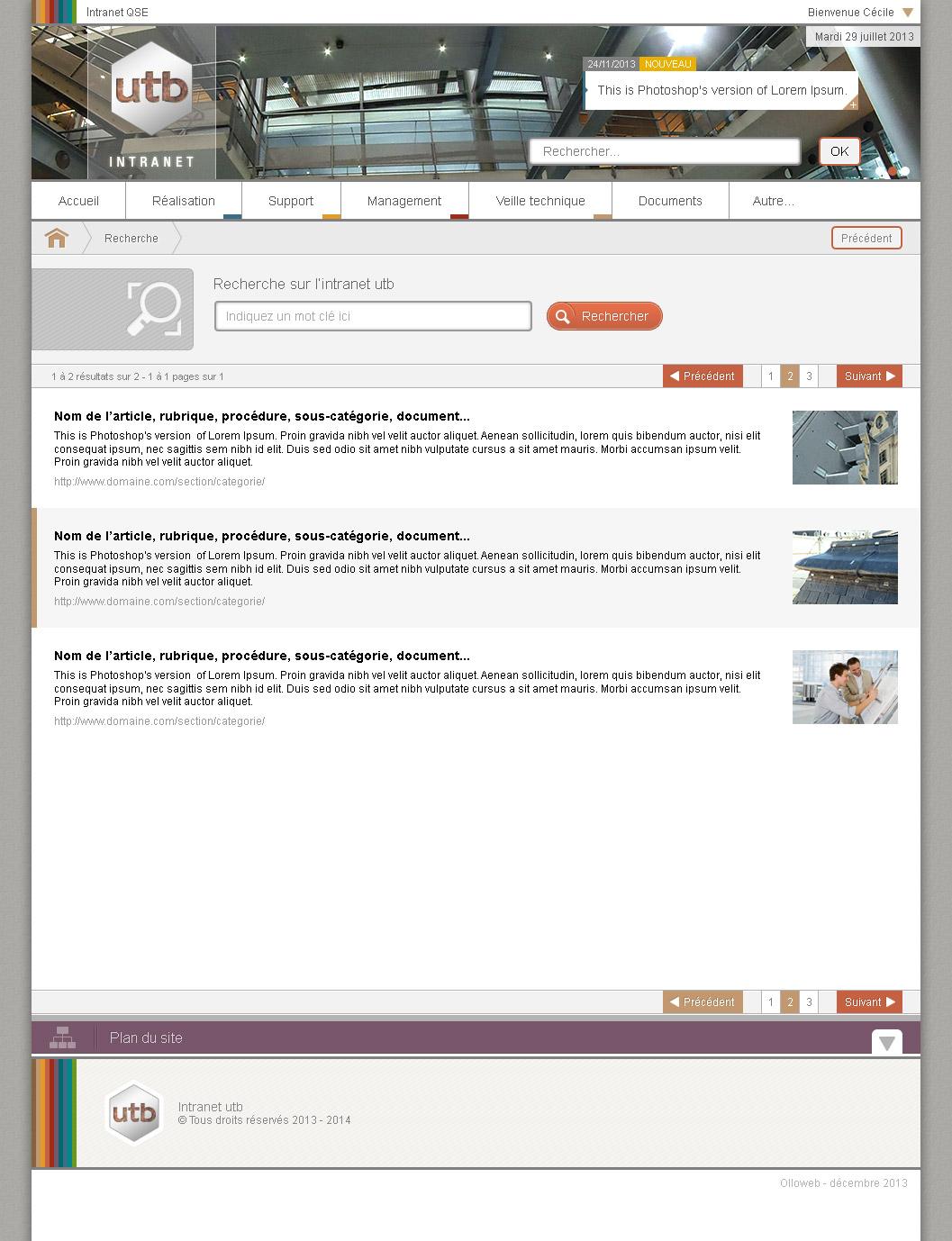 Graphisme de la page de recherche du site extranet