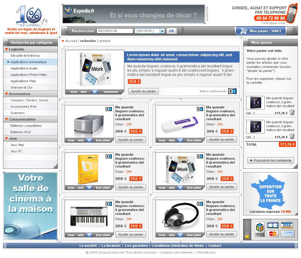 Graphisme de la page des catégories du site e-commerce.