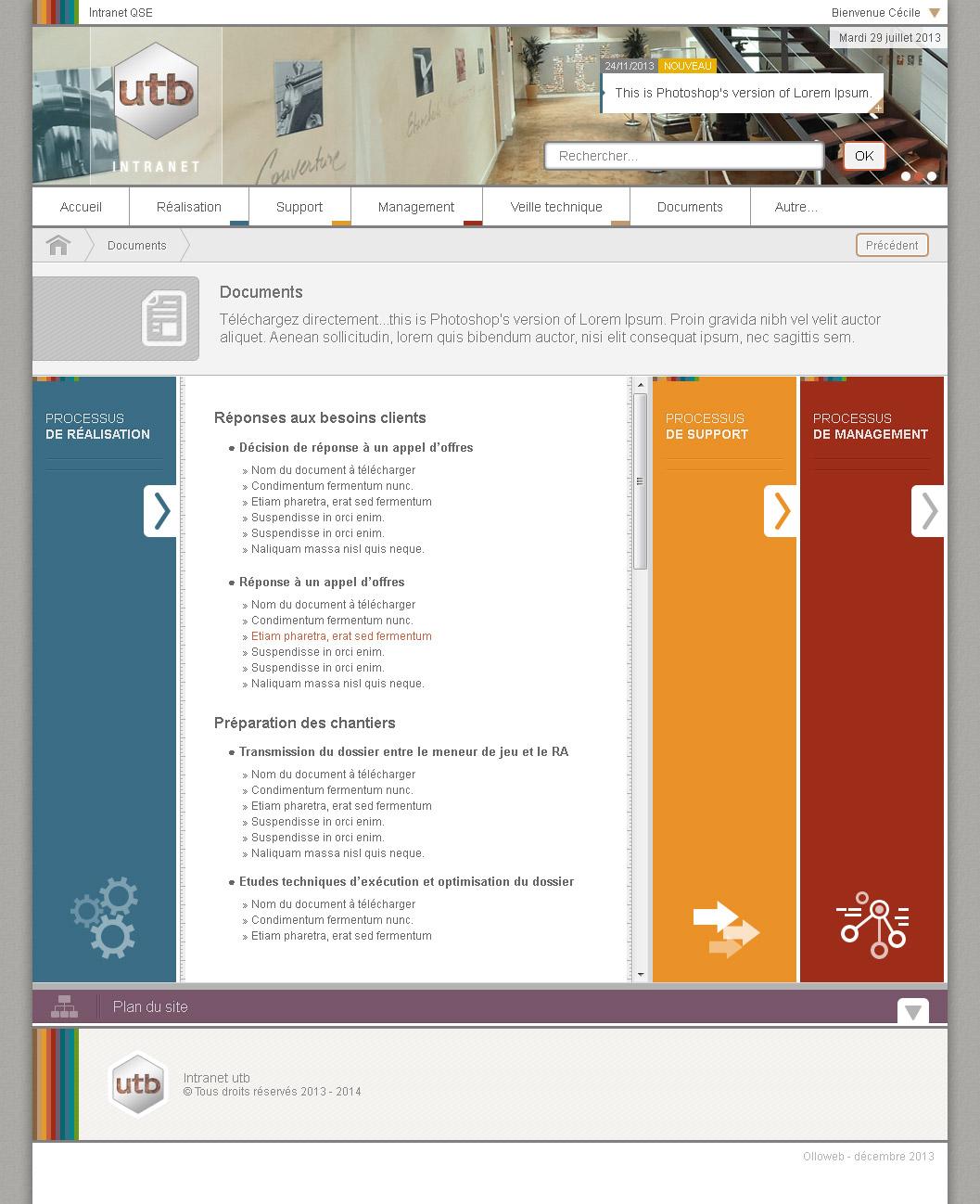 Graphisme de site internet de document