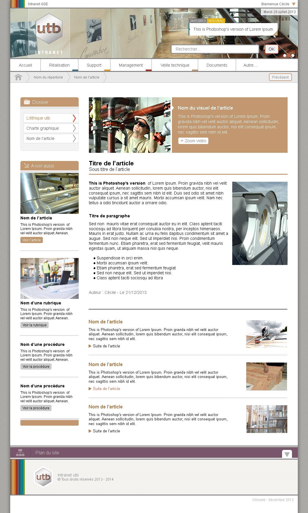 Graphisme de page article de site internet