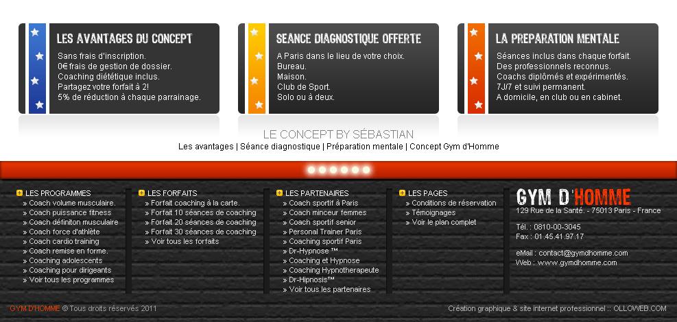 Interface graphique du bas de page