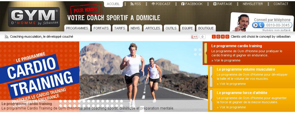 cr ation de site internet de coach sport pour les hommes. Black Bedroom Furniture Sets. Home Design Ideas