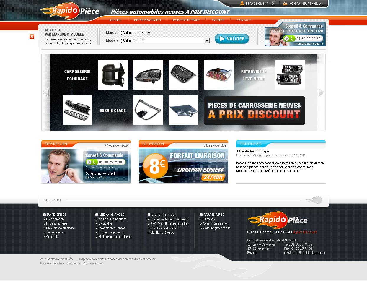 Interface graphique du site Rapidopiece