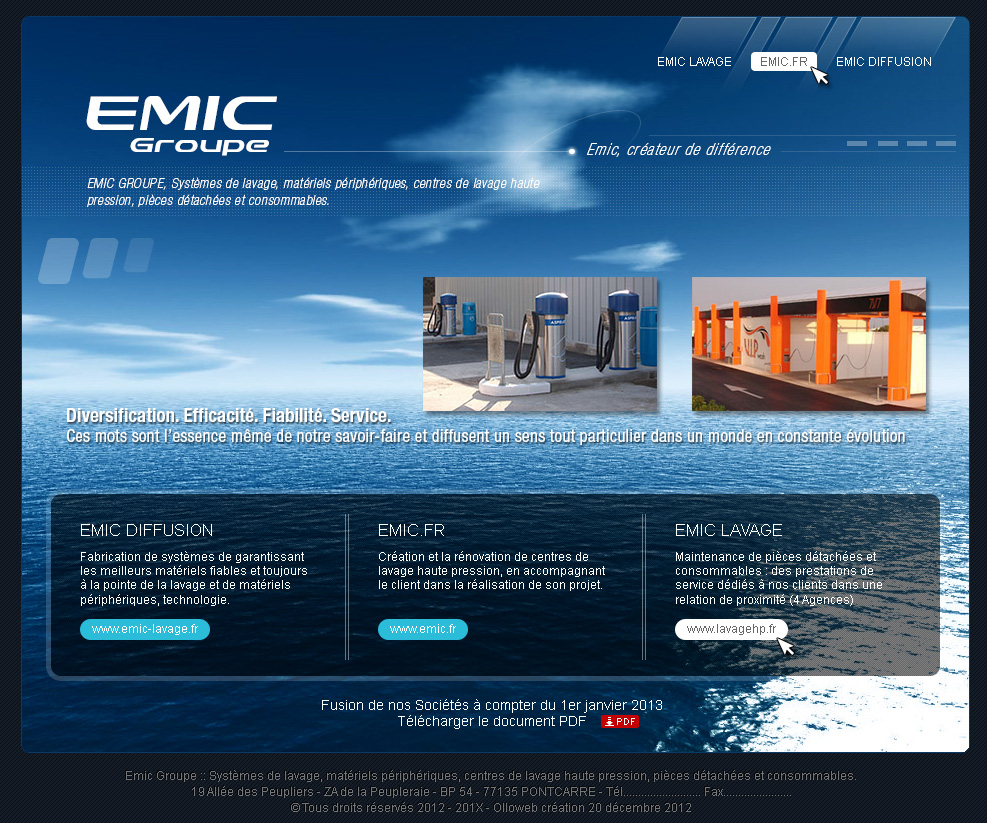 Interface graphique du site Emic Groupe