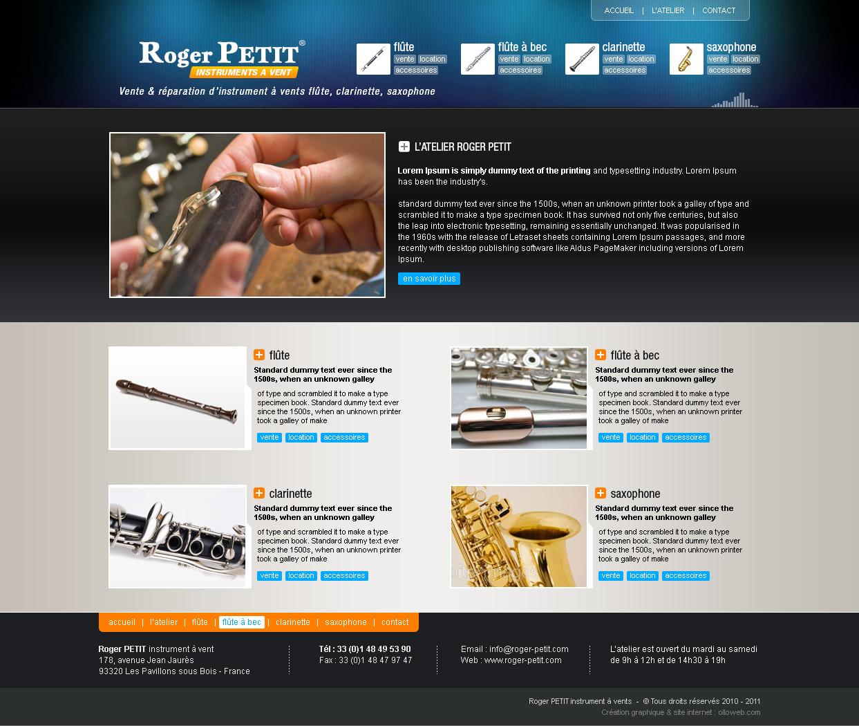 Interface graphique de la page d'accueil.
