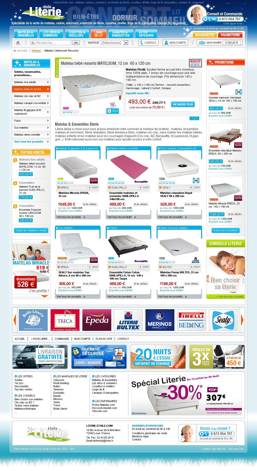Cr ation d 39 un site e commerce de vente d 39 article de literie - Literie vente en ligne ...