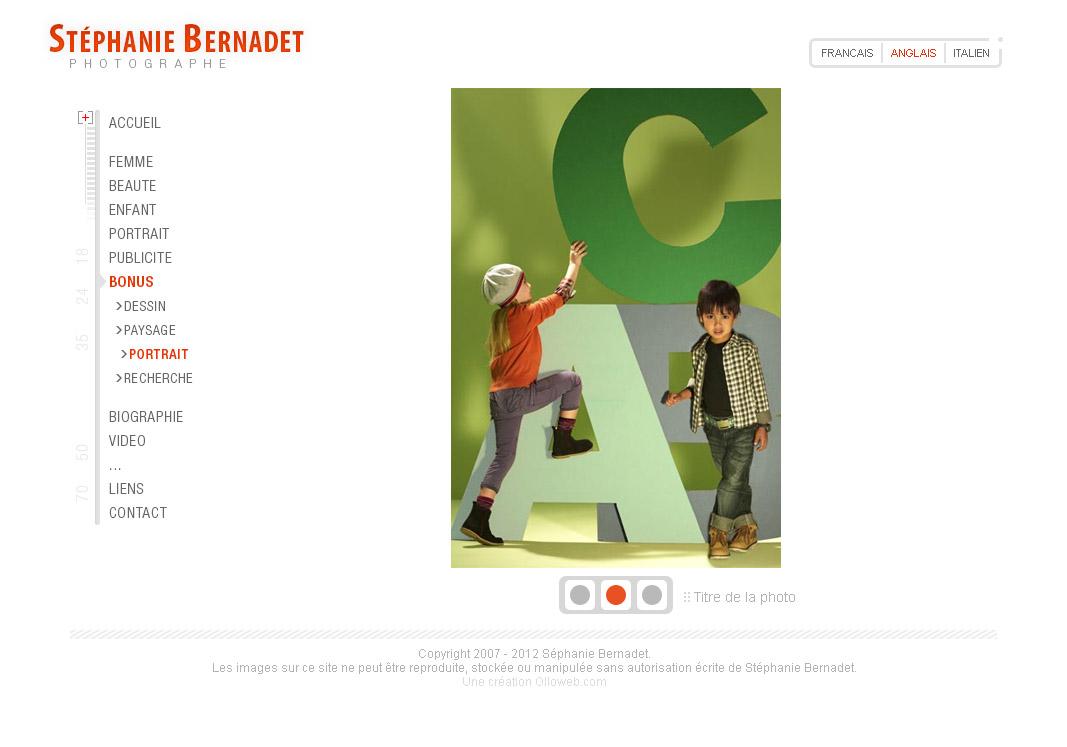 Graphisme de la page d'accueil du site de la photographe